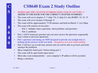 CS8640 Exam 2 Study Outline