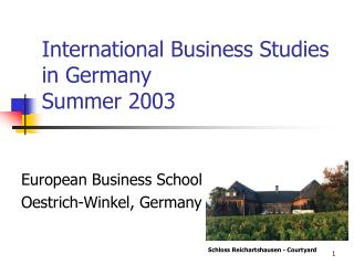 International Business Studies in Germany Summer 2003