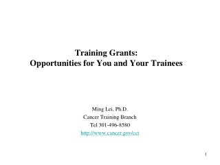 Training Grants:  Opportunities for You and Your Trainees