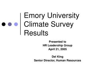Emory University Climate Survey Results