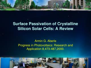 Surface Passivation of Crystalline Silicon Solar Cells: A Review
