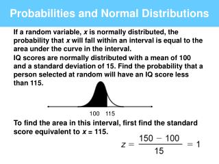 Probabilities and Normal Distributions