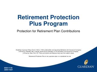 Retirement Protection Plus Program