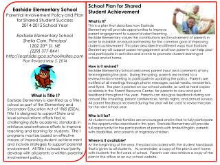 Eastside Elementary School Parental Involvement Policy and Plan  for Shared Student Success
