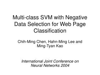 Multi-class SVM with Negative Data Selection for Web Page Classification