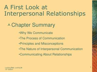 A First Look at  Interpersonal Relationships