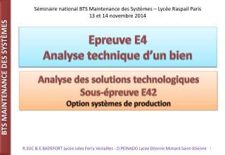 Epreuve E4 Analyse technique d'un bien