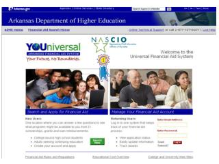 Arkansas Department of Higher Education Universal Financial Aid System