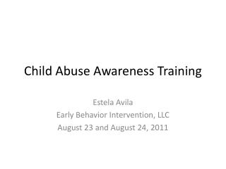 Child Abuse Awareness Training
