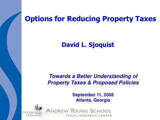 Options for Reducing Property Taxes