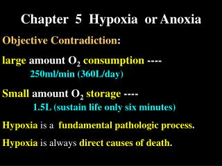Chapter  5  Hypoxia  or Anoxia Objective Contradiction: large amount O2 consumption ----           250ml