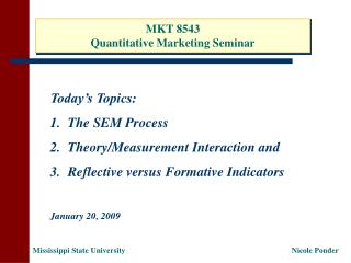 MKT 8543 Quantitative Marketing Seminar