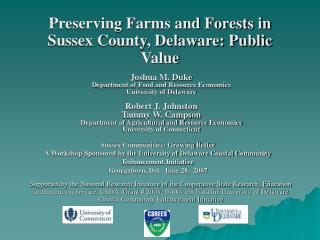 Preserving Farms and Forests in Sussex County, Delaware: Public Value