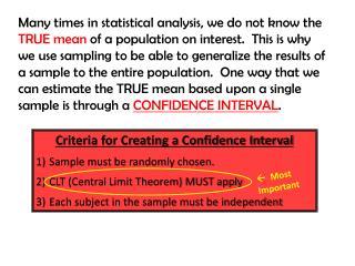Criteria for Creating a Confidence Interval Sample must be randomly chosen.