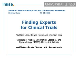 Finding Experts  for Clinical Trials