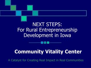 NEXT STEPS:  For Rural Entrepreneurship Development in Iowa Community Vitality Center