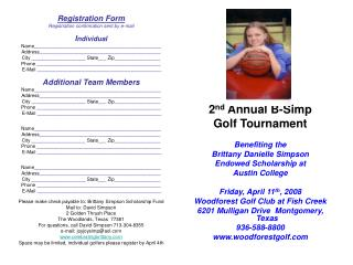 2 nd  Annual B-Simp Golf Tournament Benefiting the  Brittany Danielle Simpson