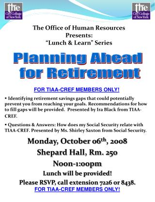Monday, October 06 th , 2008 Shepard Hall, Rm. 250 Noon-1:00pm Lunch will be provided!