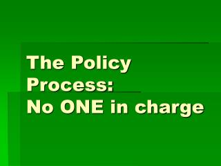 The Policy Process:  No ONE in charge