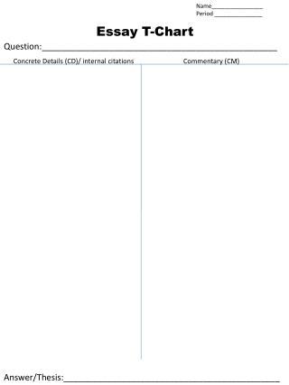 Essay T-Chart