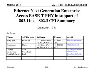 Ethernet Next Generation Enterprise Access BASE-T PHY in support of 802.11ac – 802.3 CFI Summary