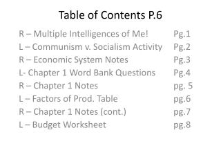 Table of Contents P.6