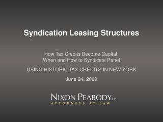 Syndication Leasing Structures