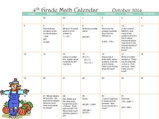 4 th  Grade Math Calendar          October 2014