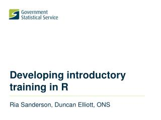 Developing introductory training in R