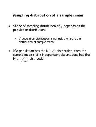 Sampling distribution of a sample mean