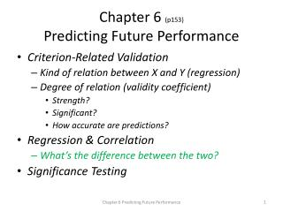 Chapter 6  (p153) Predicting Future Performance