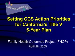Setting CCS Action Priorities for California s Title V  5-Year Plan