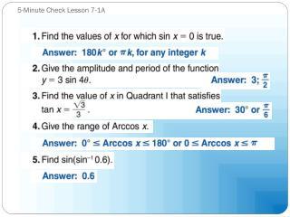 5-Minute Check Lesson 7-1A