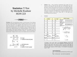 Statistics:  T-Test by Michelle  Kushnir HON 223
