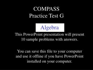 COMPASS Practice Test G