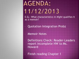 AGENDA: 11/12/2013