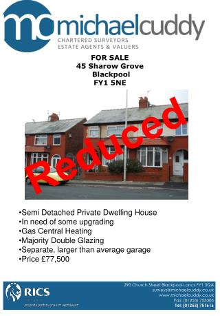 FOR SALE 45 Sharow Grove  Blackpool FY1 5NE