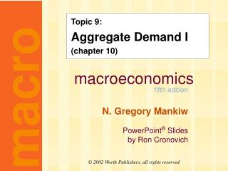 Topic 9: Aggregate Demand I (chapter 10)