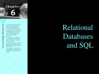 Relational  Databases and SQL