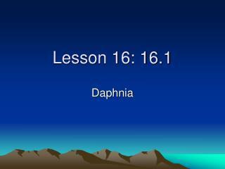 Lesson 16: 16.1