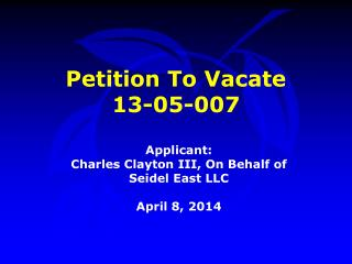 Petition To Vacate  13-05-007