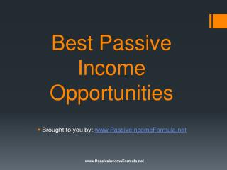 Best Passive Income Opportunities
