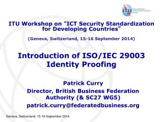 Introduction of ISO/IEC 29003 Identity Proofing