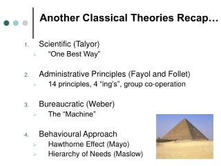 Another Classical Theories Recap…