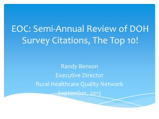 EOC: Semi-Annual Review of DOH Survey Citations, The Top 10!