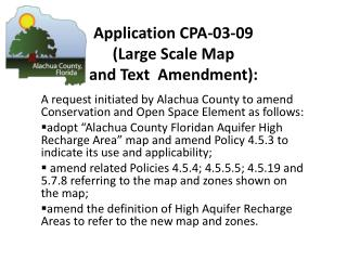 Application CPA-03-09  (Large Scale Map  and Text  Amendment):