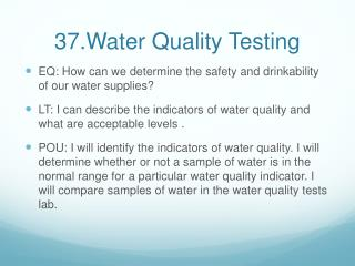 37.Water Quality Testing
