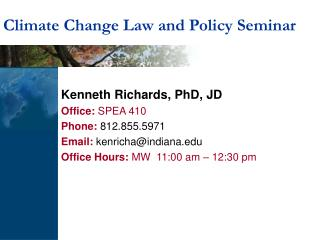 Climate Change Law and Policy Seminar
