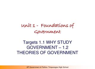 Unit 1 -  Foundations of Government