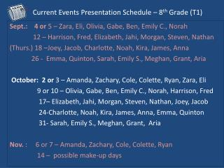 Current Events Presentation Schedule – 8 th  Grade ( T1)